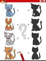 juego educativo de sombras con personajes de gatos de dibujos animados vector