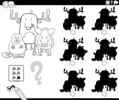 educational shadows game with animals coloring book page vector