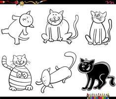 Divertidos personajes de gato para colorear página del libro vector