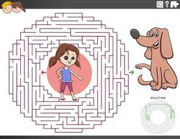 juego educativo de laberinto con niña y cachorro vector