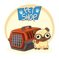lindo perro pug con perrera de transporte vector