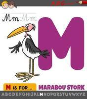hoja de trabajo de la letra m con pájaro de cigüeña marabú de dibujos animados vector