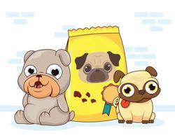 lindos perros mascotas y bolsa de comida vector