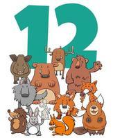 número doce y grupo de animales salvajes de dibujos animados vector