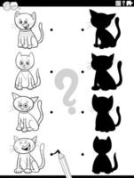 shadow game with cartoon cats coloring book page vector