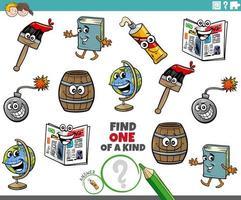 juego único para niños con personajes de objetos vector