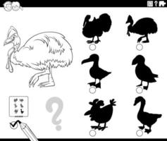 shadows game with cassowary character coloring book page vector