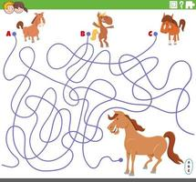 educational maze game with cartoon colts and mare vector
