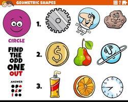 Objetos en forma de círculo tarea educativa para niños. vector