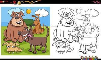 Grupo de personajes de perro divertido página de libro para colorear vector