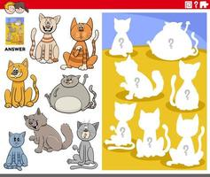 matching shapes game with cartoon cat characters vector