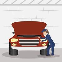 Mechanic woman working vector