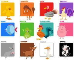 colores básicos con divertidos personajes de animales vector