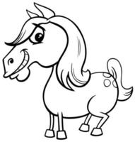 horse or pony farm animal character coloring book page vector