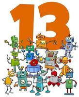 número trece y grupo de robots de dibujos animados vector