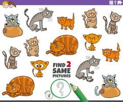 find two same cat or kitten characters game for kids vector