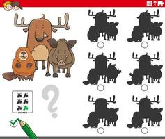 educational shadows game with animal characters vector