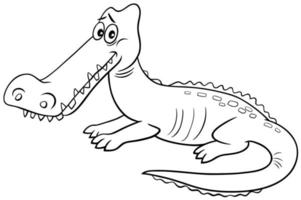 crocodile animal character cartoon coloring book page vector