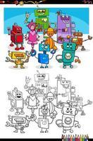 Dibujos animados de robots personajes de fantasía página de libro para colorear vector