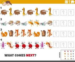 educational pattern game for kids with animals and insects vector