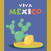 viva mexico celebration with cactus and hat vector