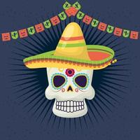 viva mexico celebration with death mask and hat vector