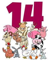 número catorce para niños con grupo de animales de granja de dibujos animados vector