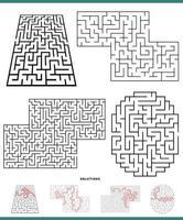 juegos de laberinto en blanco y negro con soluciones vector
