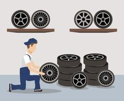 Mechanic character working with tires vector