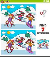 differences educational game with skiing girls vector