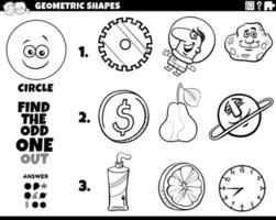 Objetos de forma de círculo tarea educativa libro para colorear vector