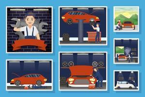 Collection of scenes of mechanics working vector