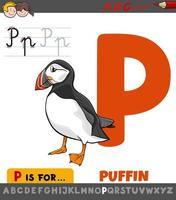 hoja de trabajo de la letra p con pájaro frailecillo de dibujos animados vector