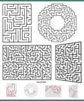 Colección de actividades de juego de laberinto con soluciones. vector