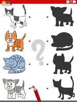 tarea de sombra educativa con personajes de gatos divertidos vector