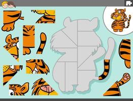 Juego de rompecabezas con personaje de animal tigre vector