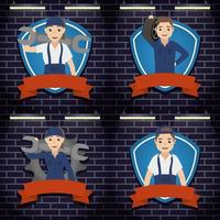 Group of mechanic workers with gears and tools vector