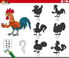 shadows task with cartoon rooster animal character vector