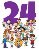 number twenty four and cartoon children group vector
