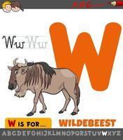 hoja de trabajo educativa letra w con animal ñu vector