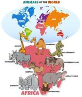 educational illustration with African animals and continents vector