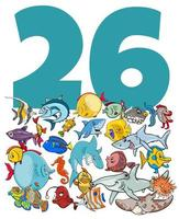 number twenty six and cartoon fish group vector