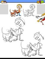 drawing and coloring task with boy and his dog vector