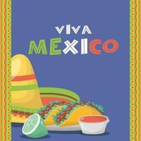 Viva Mexico celebration with food vector