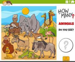 cuántos animales tarea educativa para niños vector