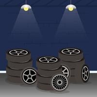 mechanic shop with car tires vector