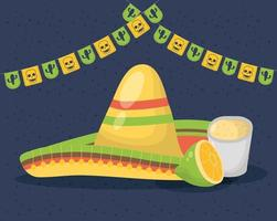 viva mexico celebration with traditional hat vector