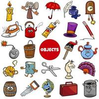 everyday or home related objects set cartoon illustration vector