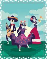 tarjeta dia de los muertos con calaveras de mariachi y catrina vector