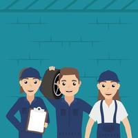 Team of mechanic characters vector
